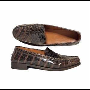Tod's Aligator Penny Loafers